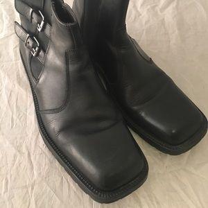 Kenneth Cole squared Toe black dress boots sz 12